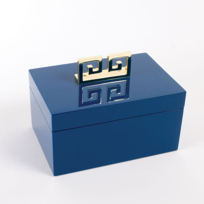 Blue Greek Key Lacquered Decorative Box