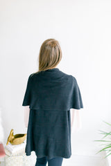 Basic Shawl Vest - Black