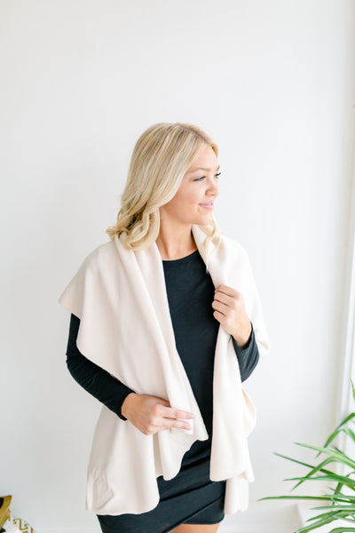Basic Shawl Vest - Cream