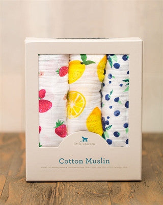 Cotton Muslin Swaddle 3-Pack - Berry Lemonade