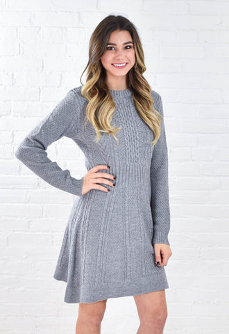 Heather Grey Cable Knit Sweater Dress - Grey