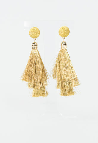 Metallic Tassel Earrings - Gold