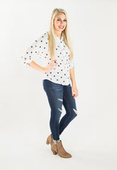 Navy Dots Button Down Top