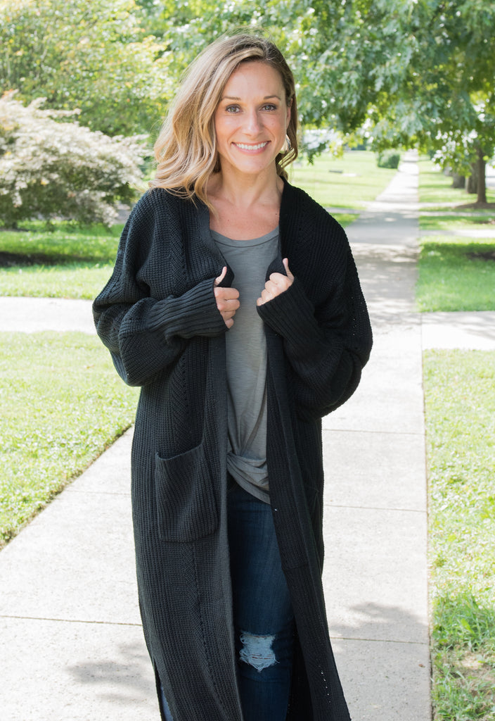 Mia Duster Cardigan - Black
