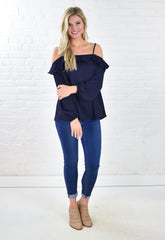 Hillary Cold Shoulder Blouse - Navy