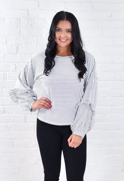 Stripe Ruffle Sleeve Top
