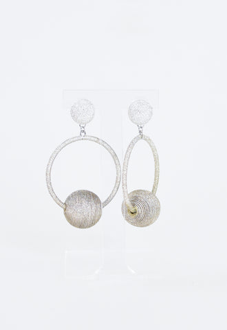 Britt Bauble Party Earrings - Silver