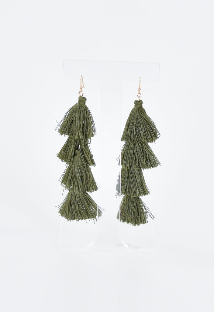 Party Layered Tassel Earrings - Olive