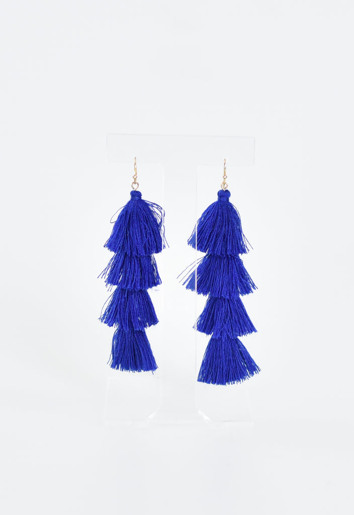 Party Layered Tassel Earrings - Navy