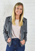Addie Suede Motto Jacket - Charcoal