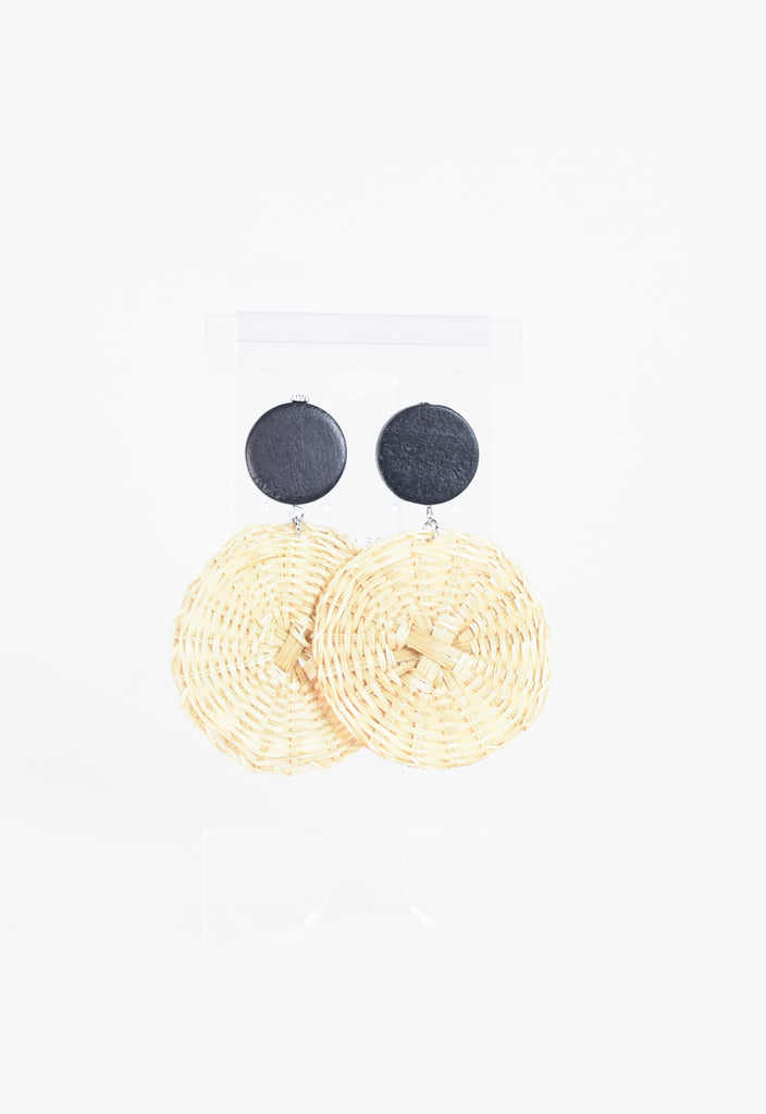 Troy Double Double Raffia Circle Earrings - Black