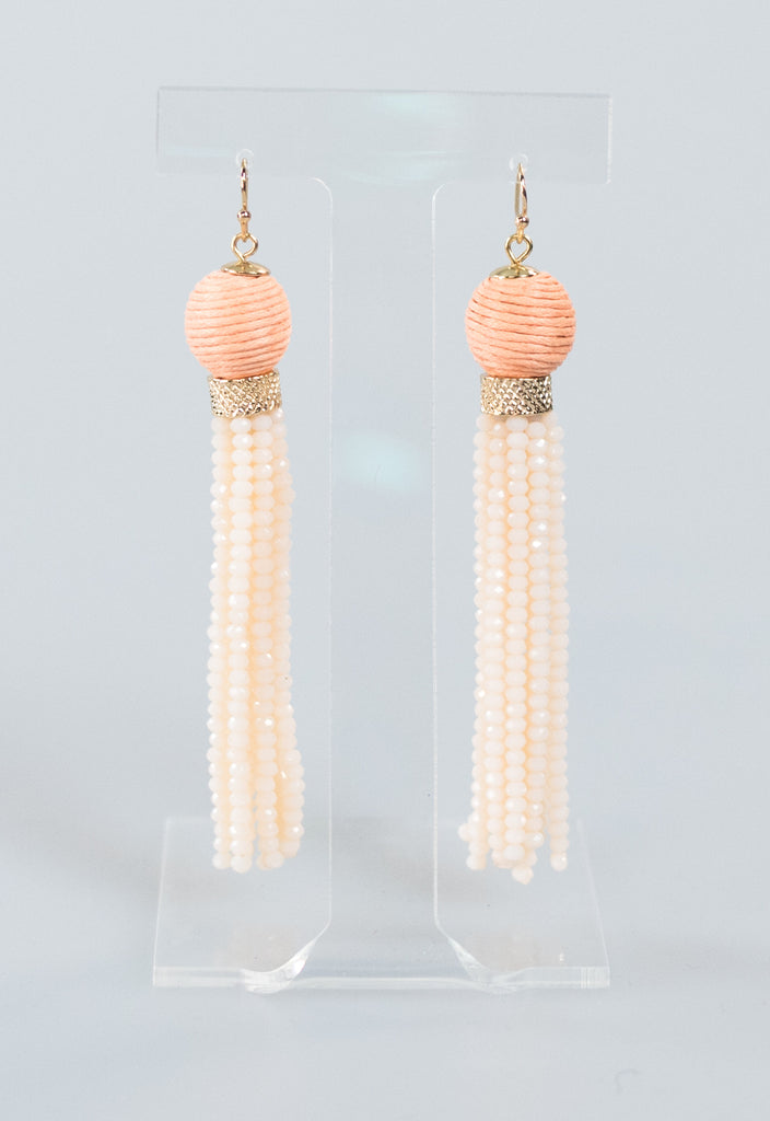 Shinny Beaded Tassel Earrings - Peach