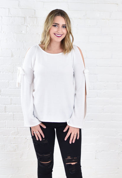 Ivory Brushed Cotton Cold Shoulder Top