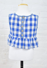 Tori Checked Peplum Tank - Blue