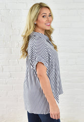 Jennifer Striped Button Down - Black White