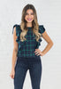 Navy & Green Plaid Ruffle Top