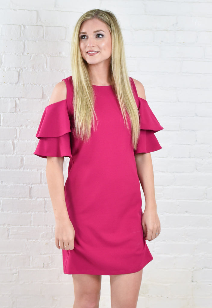 Classic Cold Shoulder Shift Dress - Fuchsia