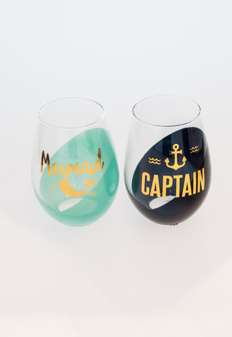 Mermaid + Caption Wine Glasses