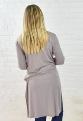Natalie Long Line Cardigan - Taupe