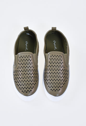 Ria Cut Out Sneakers - Olive