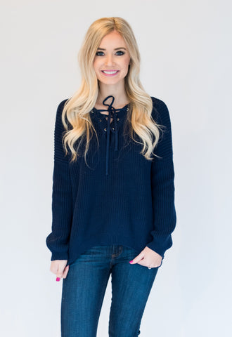 Lace Up Pullover Sweater - Navy