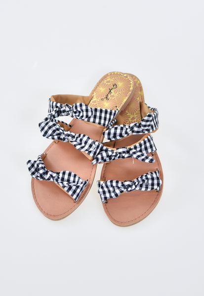Blair Gingham Check 3 Bow Sandals
