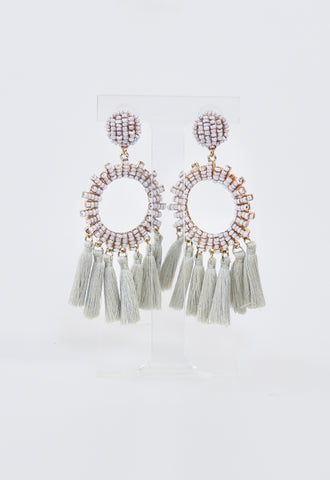 NYC Tassel Beaded Earrings - Ivory