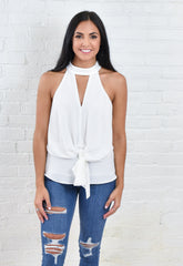 Deb High Neck Tie Top