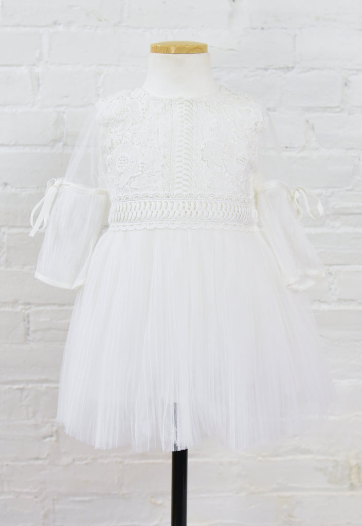 Finley Lace Pleated Peasant Dress - White