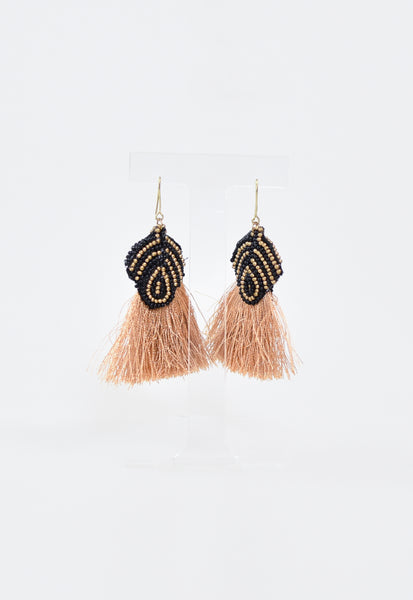 Beaded Tribal Tassel Earrings - Gold