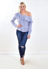 Poplin Stripe One Shoulder Button Blouse