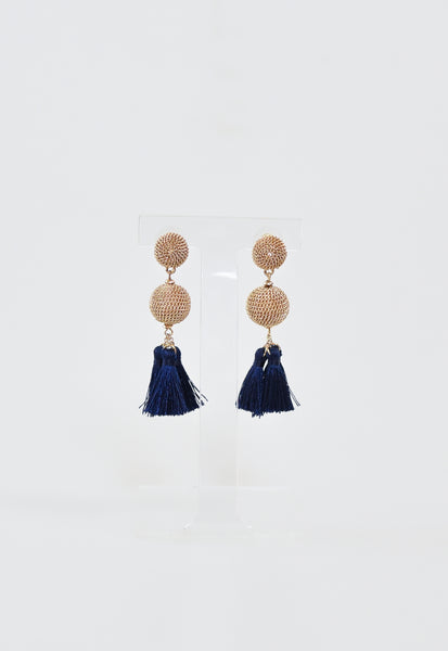 Whitley Tassel Earrings - Gold/Navy