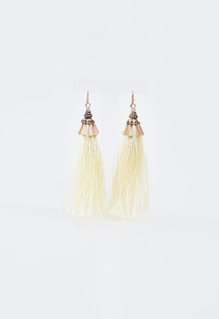Tassel & Beaded Earrings - Ivory