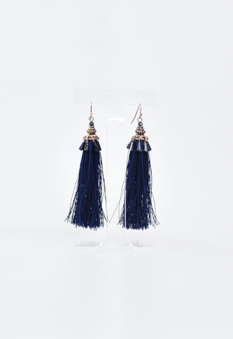 Tassel & Beaded Earrings - Navy