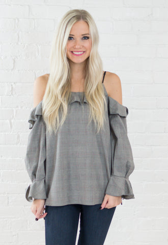 Brianna Plaid Off Shoulder Top