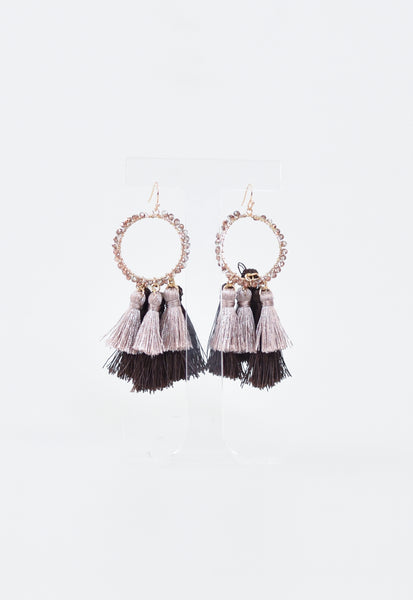 Luxe Glam Tassel Earrings - Mauve/Burg