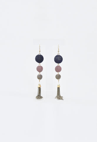 Metal Chain Ball Earrings - Blue/Mauve