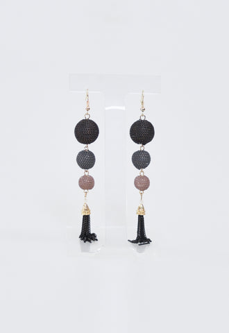 Metal Chain Ball Earrings - Black/Mauve