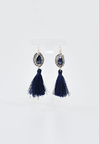 Courtney Beaded Tassel Earrings - Navy
