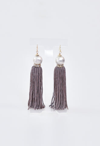 Crafter Pearl & Tassel Earrings - Mauve