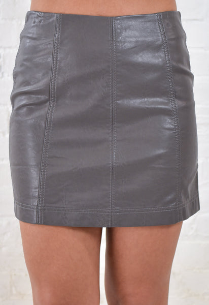 Mia Leather Mini Skirt - Charcoal