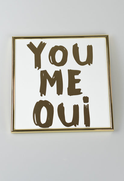 'You Me Oui' Gold Framed Art
