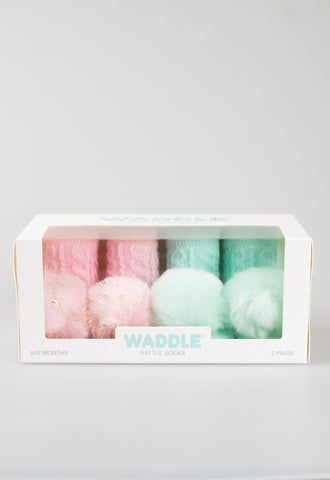Waddle Pom Pom Rattle Socks - Pink/Turquoise
