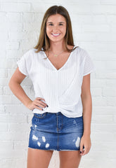 Emerie Stripe Wrap Front Top