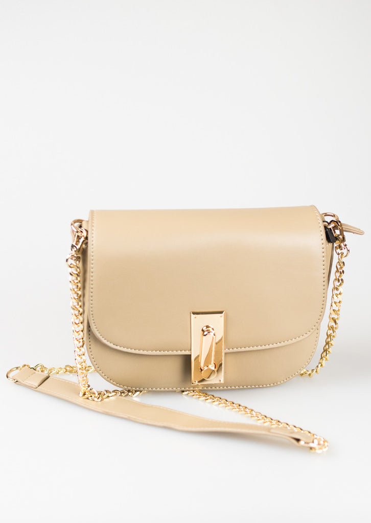 Gold Chain Shoulder Bag - Beige