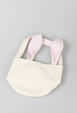 Canvas Seersucker Bunny Basket by Mud Pie - Pink