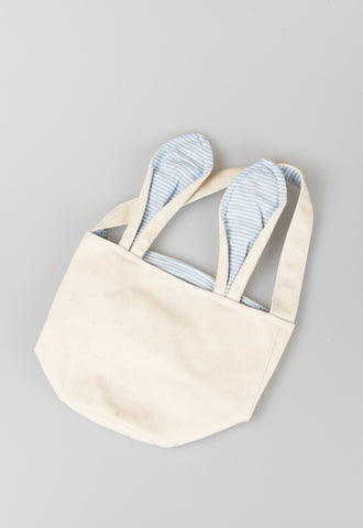 Canvas Seersucker Bunny Basket by Mud Pie - Blue