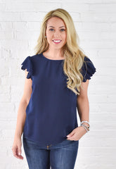 Jolene Scalloped Sleeve Top - Navy