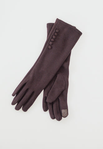 Long Gloves with Buttons - Brown