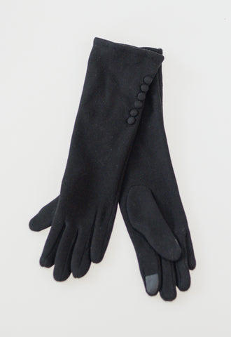 Long Gloves with Buttons - Black